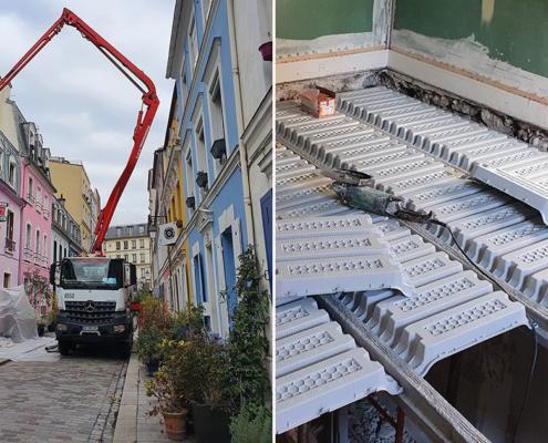 Chantier de rénovation de planchers dans une maison à Paris