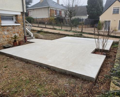 Construction d'une terrasse en béton à Briis-sous-Forges (91)